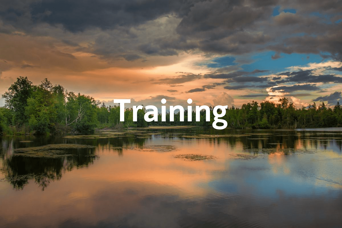 Training banner with view of lake and sunset