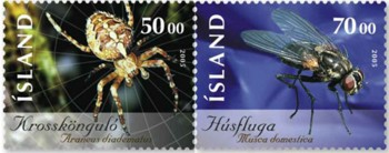 kruisspin-en-huisvlieg-ijsland-2005-postzegels