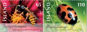 noorse-wesp-en-elfstippelig-lieveheersbeestje-ijsland-2006-postzegels