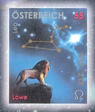 6 postzegel Leeuw Oostenrijk 2005