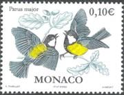 12 postzegel koolmees Parus major Monaco 2002