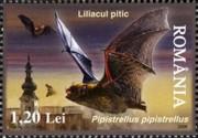 4 postzegel dwergvleermuis (Pipistrellus) Roemenië 2006