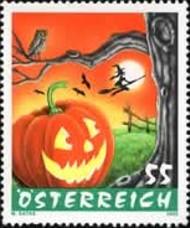 3 postzegel Halloween Oostenrijk 2005