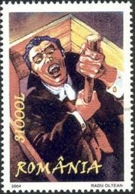 9 postzegel Dracula Roemenië 2004