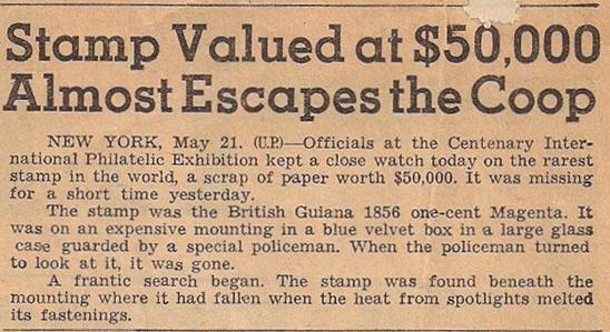 Kranteknipsel-tentoonstelling in 1947 met de British Guiana One cent magenta