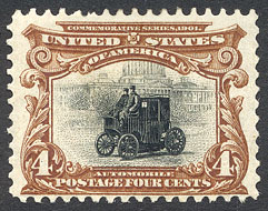 auto op postzegel 1901
