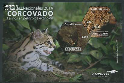 Postzegels Costa Rica met uitsterven bedreigde katachtigen