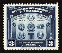 Postzegel om het vredesverdrag van Chaco te herdenken
