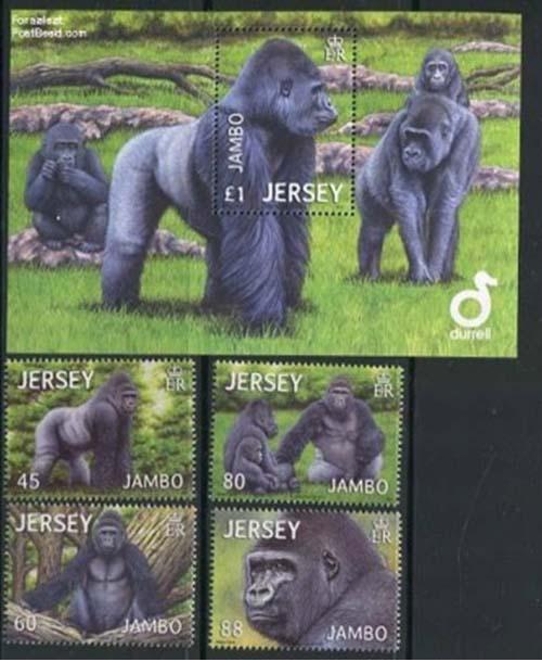 In 2002 verscheen deze postzegelserie uit Jersey met Jambo de gorilla.