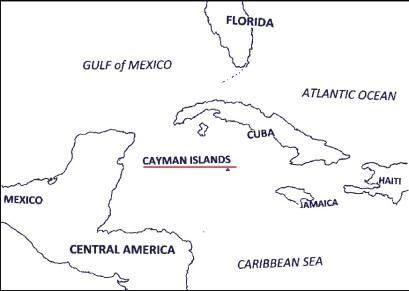Kaart aardrijkskundig Cayman Islands