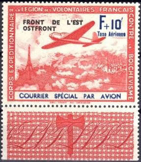 Frans Legioen luchtpost opdruk F+10 rood