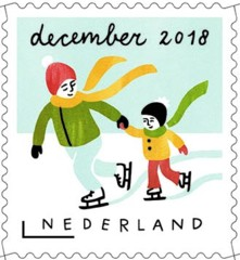 Decemberzegel 2018 - schaatser met kind