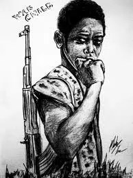 Sometimes war makes adults of children, makes them carry guns instead of school books. What a tragedy that is!
