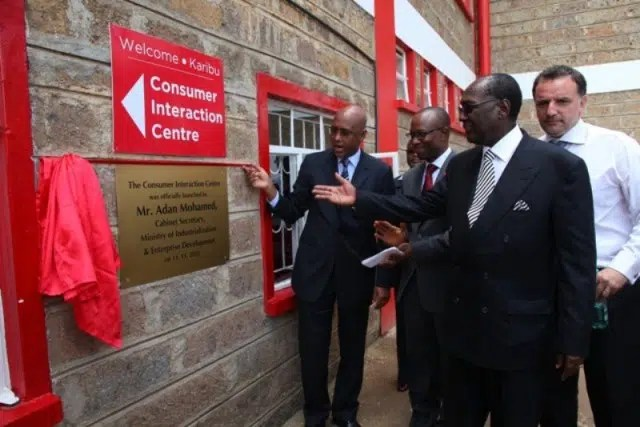 Image 1 – (L-R) Industrialisation Cabinet Secretary Adan Mohammed, Coca-Cola Central East and West Africa President Kelvin Balogun, Nairobi Bottlers Ltd. Chairman Dr. Chris Kirubi and M.D. Patrick Pech during the unveiling of Coca-Cola's Consumer Interaction Centre.