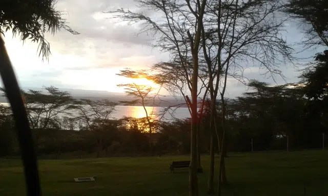 sunset at lake nakuru
