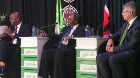 Bob Collymore (CEO Safaricom), Nicholas Ng'ang'a (Safaricom Chairman) and John Tombleson (CFO) answering questions. Picture courtesy of Safaricom Ltd.