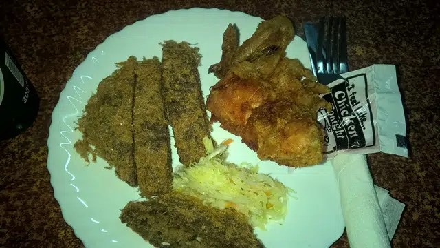 Chaps (which is a sort of Ugandan flat Kebab) and chicken from I feel like Chicken tonight in Kampala. Awesome food.