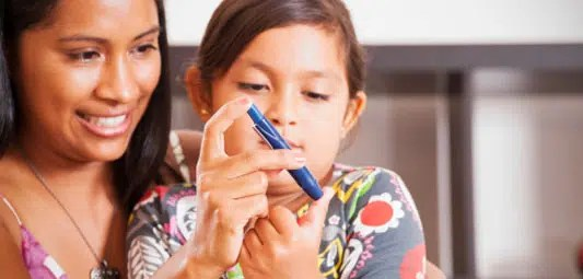 A child with diabetes. Picture from www.nhs.uk
