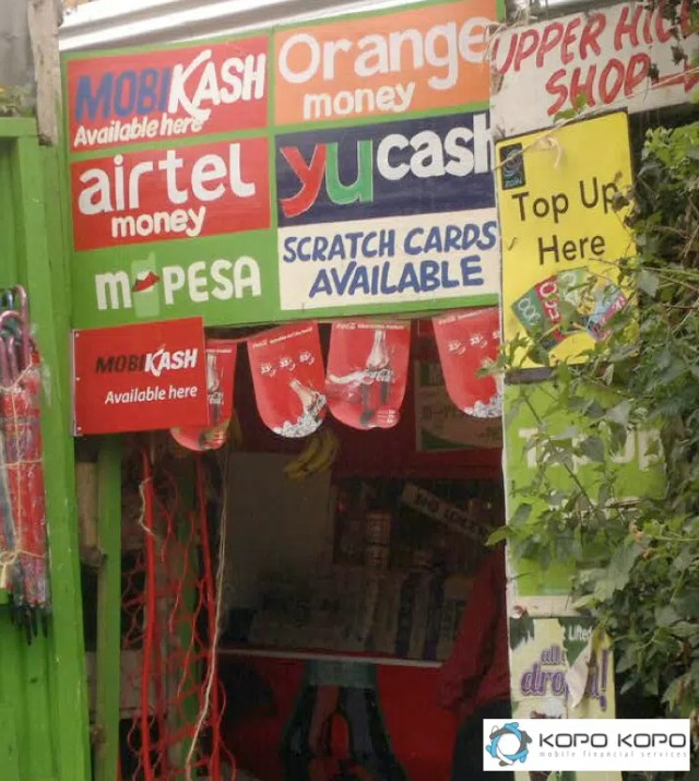 A shop with products from all the Kenyan telcos. Photo credit - whiteafrican.com/