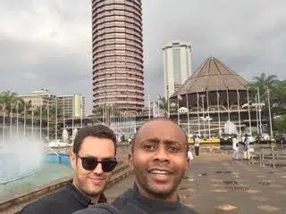 Michael Waiyaki with a friend