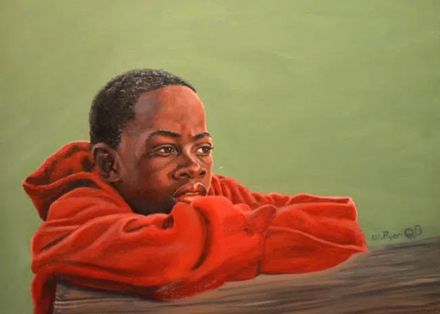 A painting by Weldon Ryan of a boy. Image from http://flaglerlive.com/36296/black-fathers-sons/
