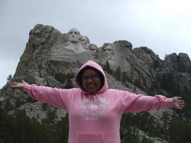Jamila El-Jabry at Mount Rushmore National Park in the US.