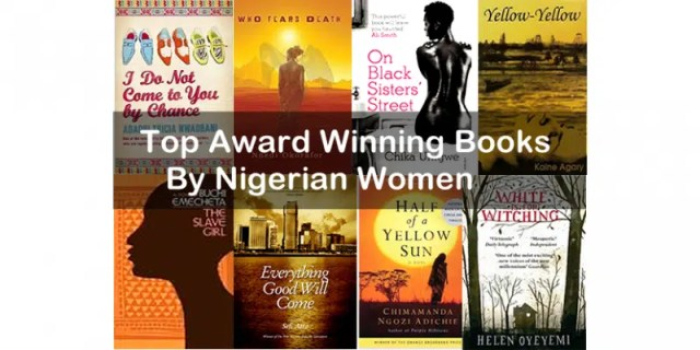 Some books written by Nigerian women that have won awards. Image from http://zodml.org/blog/international-womens-day-8-award-winning-books-written-nigerian-women#.VlQSvL9wLIU
