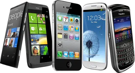 Different types of Smartphones. Image from http://blog.realviewdigital.com/should-i-optimise-my-flipbook-for-smartphones