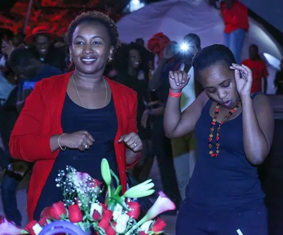 Sylvia Mulinge of Safaricom (Left) enjoying herself. Image credit - Safaricom