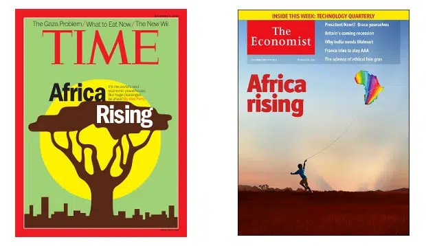 Some Africa rising magazine covers. Image from http://www.howwemadeitinafrica.com/africa-rising-time-runs-with-same-title-as-now-famous-the-economist-cover/
