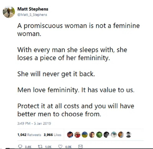 Matt Stephens Tweet - Mansplaining Femininity