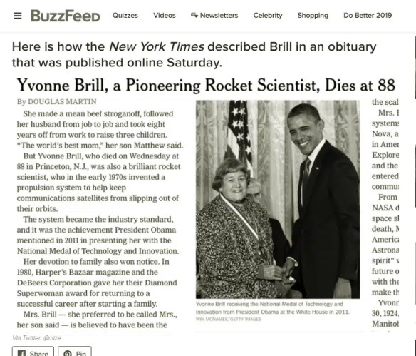 The Obituary of Yvonne Brill, a rocket scientist in the New York Times - On Women