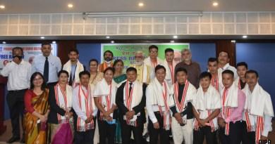 Union minister Ashwini Kumar felicitates distinguished Manipur sports persons
