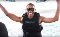 Barack Obama s'éclate sur l'île de Richard Branson