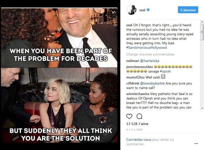 Seal : Le chanteur accuse Oprah Winfrey d'être hypocrite concernant l'affaire Weinstein !