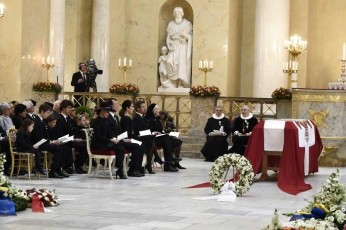 La princesse Marie, le prince Joachim, la princesse héritière Mary et la reine Margrethe lors des obsèques du prince Henrik le 20 février 2018.