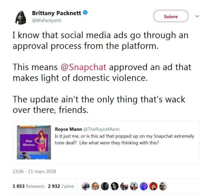 Snapchat : Le réseau social indigne en proposant de « gifler » Rihanna !