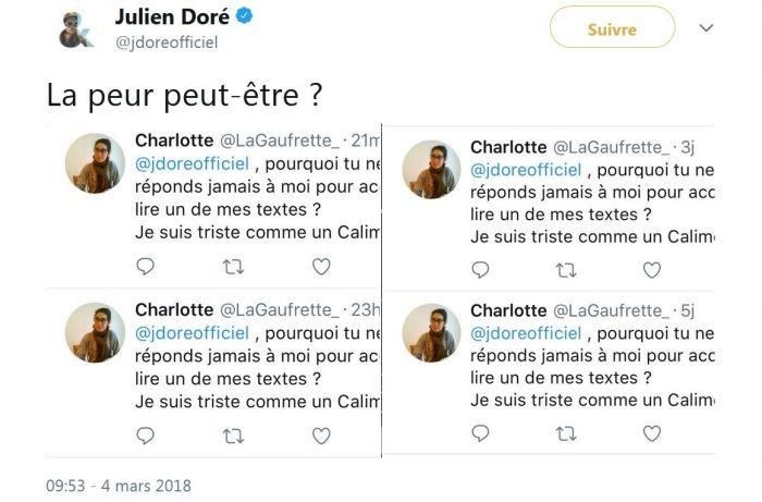 Julien Doré : Il répond avec humour à une admiratrice bien trop insistante