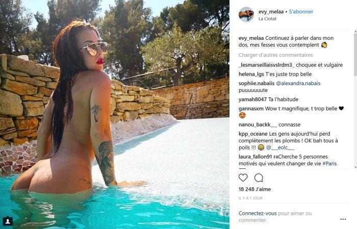 Evy : Elle répond à ses détracteurs en posant nue dans une piscine !