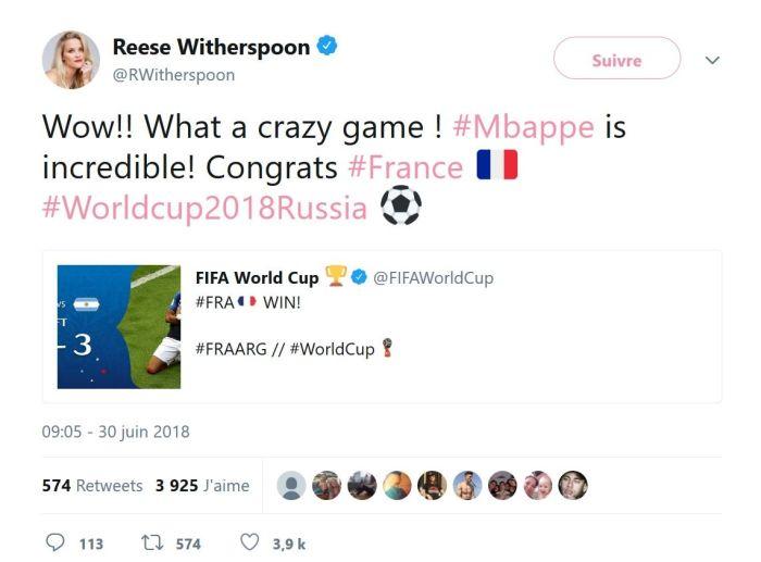 Reese Witherspoon : L'actrice est fan du footballeur français Kylian Mbappé