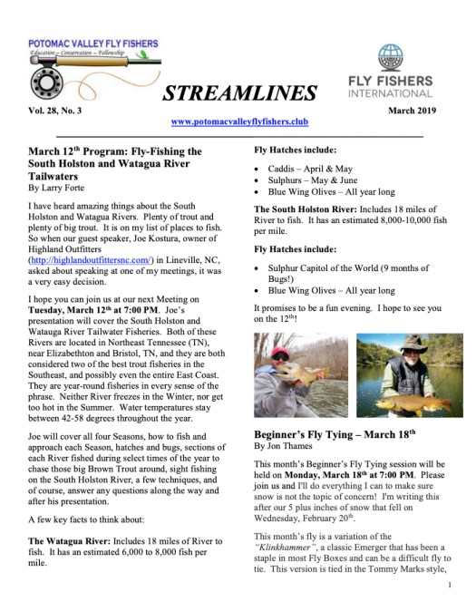 Streamlines: March 2019 | Potomac Valley Fly Fishers