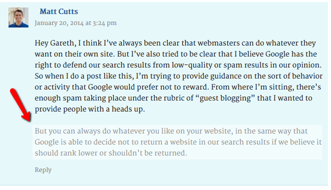 matt cutts guest blogging comment