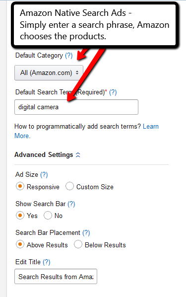 Amazon Native Search Ads example from PotPieGirl