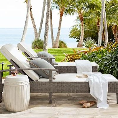 Palmetto All-Weather Wicker Single Chaise, Gray