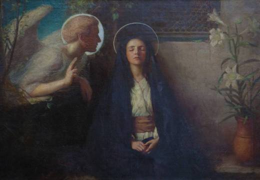 The annunciation a painting by william gladstone solomon the annunciation painted by william ewart gladstone solomon 18801965 beautifully illustrates the gospel of luke chapter 1 26 38 sciox Choice Image