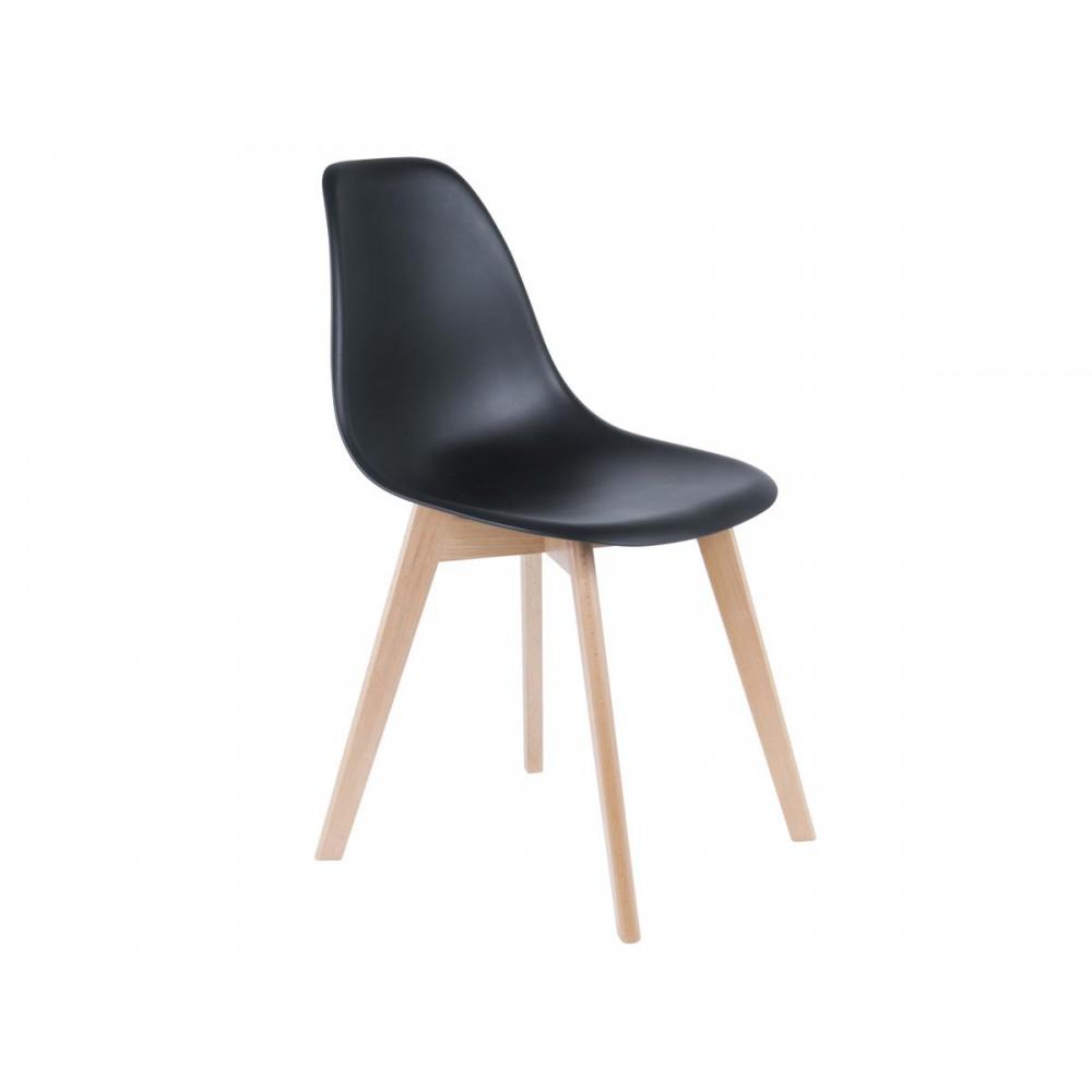 chaise scandinave noire et bois de hetre pouf design