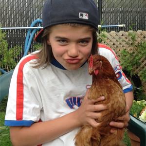 Les poules avec des enfants