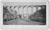 """Tirage albuminé de la """"grand place"""" avant 1875 avant qu'elle se dénomme place Thiers le 8 février 1883 et après la construction du Viaduc en 1862. Collection J.M.P. Collection J.M.P."""