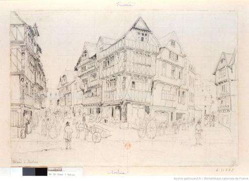 Le pavé à Morlaix d'Auguste Etienne François Mayer. XIXe siècle.
