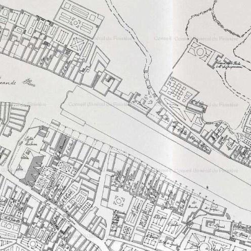 Grande place de Morlaix et quartier des Lances autour de Saint-Melaine.